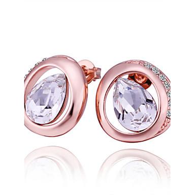 Kadın Vidali Küpeler Kristal Kübik Zirconia Kristal Zirkon Kübik Zirconia Gül Rengi Altın Kaplama alaşım Damla Mücevher Günlük