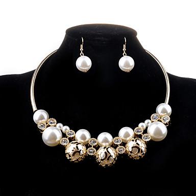 여성용 보석 세트 목걸이 / 귀걸이 펄 모조 진주 모조 다이아몬드 합금 사치 할로우 패션 결혼식 파티 일상 캐쥬얼 귀걸이 목걸이 의상 보석