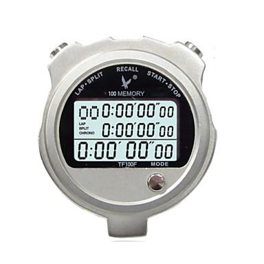 cronômetro eletrônico de metal tf100f três fileira 100 de memória movimento cronômetro cronômetro