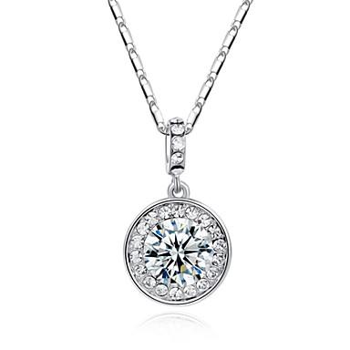 billige Mode Halskæde-Dame Cirkelformet Geometrisk form minimalistisk stil Halskædevedhæng Krystal Simuleret diamant Legering Halskædevedhæng ,
