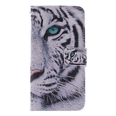 witte tijger ontwerp pu lederen tas met standaard en kaartslot voor Alcatel One Touch pop c7