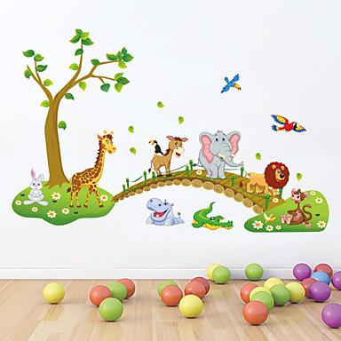 Dieren Cartoon Muurstickers Vliegtuig Muurstickers Decoratieve Muurstickers, PVC Huisdecoratie Muursticker Wand