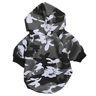 Kat Hond Hoodies Hondenkleding camouflage Grijs Katoen Kostuum Voor huisdieren Heren Dames Casual/Dagelijks Modieus