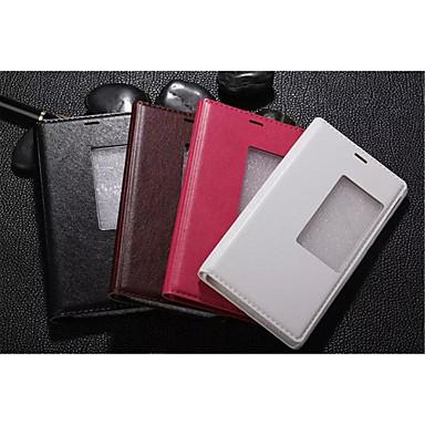 Voor Huawei hoesje P8 Hoesje cover met standaard met venster Automatisch aan / uit Flip Volledige behuizing hoesje Effen kleur Hard