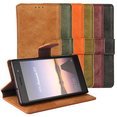 Voor Huawei hoesje Kaarthouder / met standaard / Flip hoesje Volledige behuizing hoesje Effen kleur Hard PU-leer Huawei Huawei P7