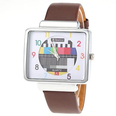 Homens Relógio de Pulso Quartzo PU Banda Preta Branco Vermelho Marrom
