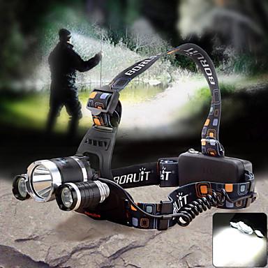 Φακοί Κεφαλιού Μπροστινό φως LED 1800lm lm 4.0 Τρόπος Cree XM-L T6 Cree Q5 με φορτιστή Zoomable Ρυθμιζόμενη Εστίαση Αδιάβροχη