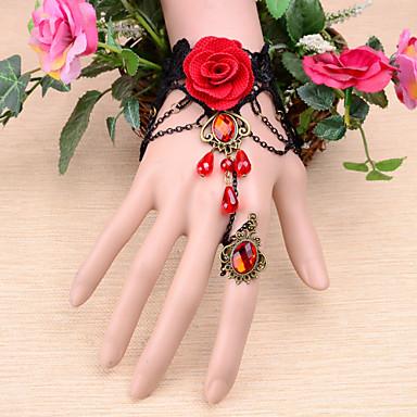 pulseira de gema da coroa vermelha vintage com anel estilo feminino clássico