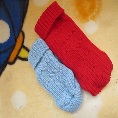 Hond Truien Hondenkleding Effen Rood Blauw Textiel Binnenwerk Kostuum Voor huisdieren