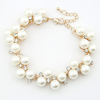 Dames Armbanden met ketting en sluiting Elegant Modieus Kostuum juwelen Parel Strass Sieraden Sieraden Voor Bruiloft Dagelijks