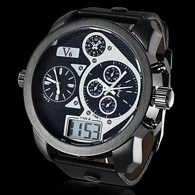 Χαμηλού Κόστους Ανδρικά ρολόγια-V6 Ανδρικά Στρατιωτικό Ρολόι Γιαπωνέζικο Quartz Συνθετικό δέρμα με επένδυση Μαύρο Ημερολόγιο Αθλητικό Ρολόι LCD Αναλογικό-Ψηφιακό Λευκό Μαύρο / Διπλές Ζώνες Ώρας
