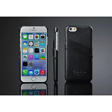 Voor iPhone 8 iPhone 8 Plus iPhone 6 iPhone 6 Plus Hoesje cover Kaarthouder Achterkantje hoesje Effen Kleur Hard Echt leer voor Apple