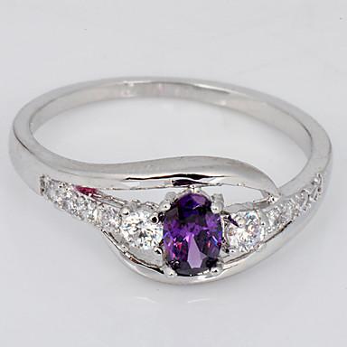 Anéis Casamento / Pesta / Diário / Casual / Esportes Jóias Zircão / Gema Feminino Anéis Grossos 1pç,6 / 8 / 9 / 10 Púrpura / Rosa