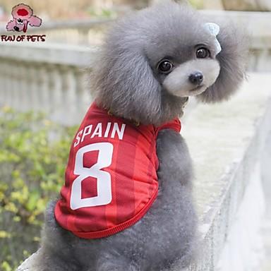 Gato Cachorro Camiseta Camisa Roupas para Cães Fantasias Casamento Carta e Número Vermelho Ocasiões Especiais Para animais de estimação