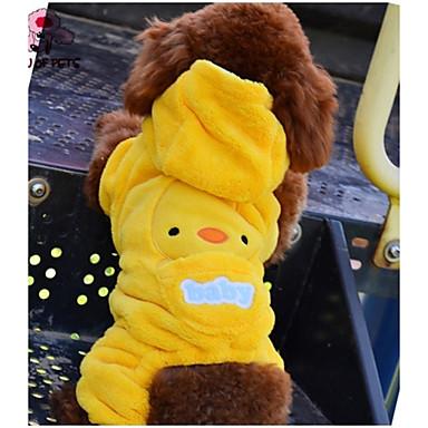 Kat Hond Hoodies Jumpsuits Hondenkleding Cartoon Geel Fleece Kostuum Voor huisdieren Heren Dames Schattig Casual/Dagelijks