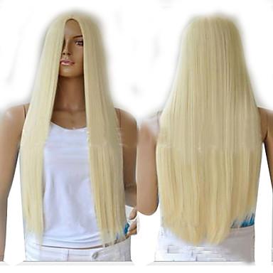 Συνθετικές Περούκες Ίσιο Πυκνότητα Χωρίς κάλυμμα Γυναικεία Καρναβάλι περούκα Απόκριες Περούκα Συνθετικά μαλλιά