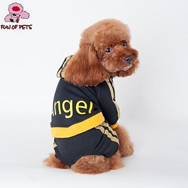 Gato Cachorro Camisola com Capuz Macacão Roupas para Cães Carta e Número Preto Rosa claro Algodão Ocasiões Especiais Para animais de