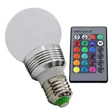 E26/E27 Lâmpada Redonda LED 1 leds LED de Alta Potência Regulável Controle Remoto RGB 100-130lm 2700-6500K AC 85-265V
