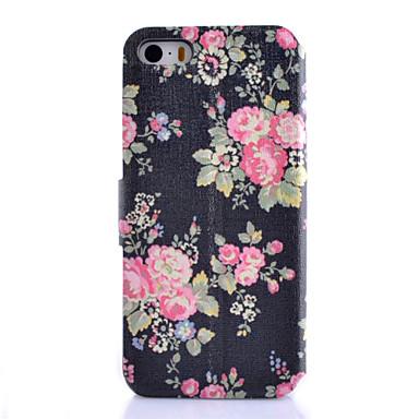 Voor iPhone 5 hoesje Kaarthouder / met standaard / Flip hoesje Volledige behuizing hoesje Bloem Hard PU-leeriPhone 7 Plus / iPhone 7 /