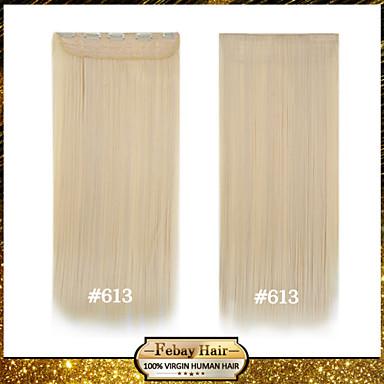 resistência loira alta temperatura de 24 polegadas lixívia (# 613) longa reta 5 extensão peruca clipe de 16 cores disponíveis