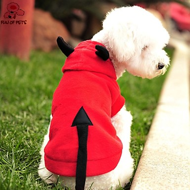 Gato Cachorro Fantasias Camisola com Capuz Roupas para Cães Vampiros Vermelho Lã Polar Ocasiões Especiais Para animais de estimação
