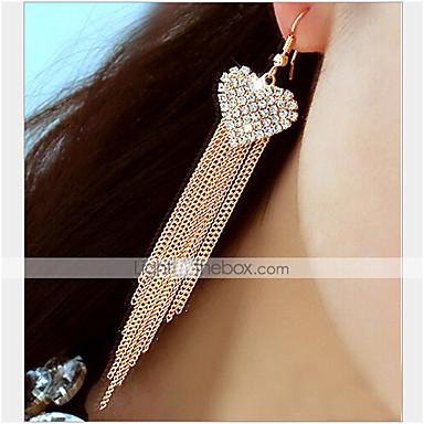 Mulheres Coração Strass Imitações de Diamante Brincos Compridos - Luxo Borla Clássico Brincos Para Festa Diário