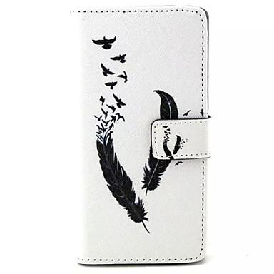 feather pattern pu caixa de telefone em couro para sony m4 casos / capas para sony