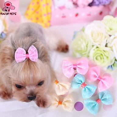 Γάτα Σκύλος Αξεσουάρ μαλλιών Φιόγκοι Ρούχα για σκύλους Κίτρινο Μπλε Ροζ Τερυλίνη Στολές Για Άνοιξη & Χειμώνας Στολές Ηρώων Γάμος
