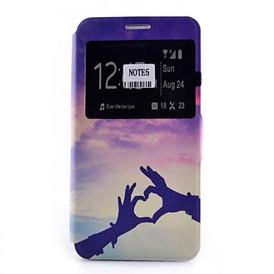 케이스 제품 Samsung Galaxy Samsung Galaxy Note 카드 홀더 스탠드 윈도우 플립 패턴 전체 바디 케이스 심장 소프트 PU 가죽 용 Note 5 Note 4 Note 3