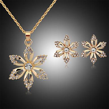 Mulheres Zircônia Cubica Imitações de Diamante Rosa Folheado a Ouro Conjunto de jóias Brincos Colares - Fofo Festa Fashion Dourado