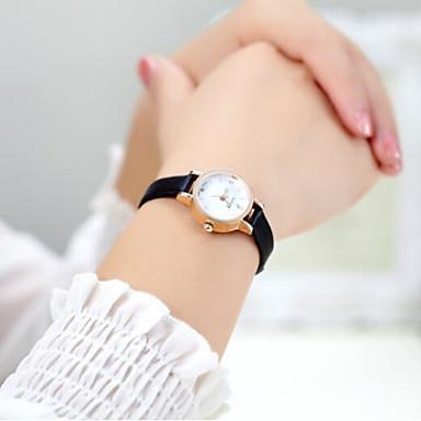 Mulheres Relógio Elegante Relógio de Moda Quartzo Couro Banda Dourada Branco Preto Café Vermelho