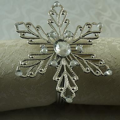 12 pcs / set 1,77 polegadas metal floco de neve guardanapo anel mesa de armazenamento de mesa