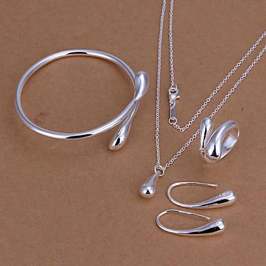 Damen Kubikzirkonia versilbert Schmuck-Set - Modisch Tropfen Armreife Tropfen-Ohrringe Halskette Für Hochzeit Alltag Normal Büro &