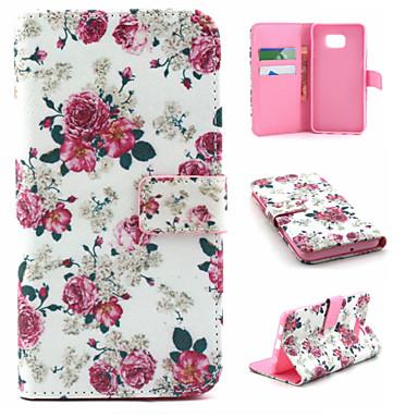 Για Samsung Galaxy Θήκη Θήκη καρτών / Πορτοφόλι / με βάση στήριξης / Ανοιγόμενη tok Πλήρης κάλυψη tok Λουλούδι Συνθετικό δέρμα SamsungS6
