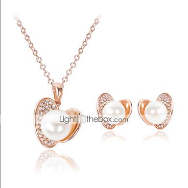 Mulheres Conjunto de Jóias Pérola Imitação de Pérola Zircônia Cubica Imitações de Diamante Rosa Folheado a Ouro Liga Luxo Fofo Festa Amor
