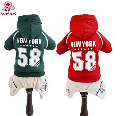 Hond Hoodies Jumpsuits Shirt Hondenkleding Modieus Sport Letter & Nummer Rood Groen Kostuum Voor huisdieren