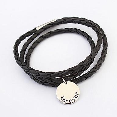 Γυναικεία Wrap Βραχιόλια Δερμάτινο Κράμα Μαύρο Κοσμήματα Για Καθημερινά Causal 1pc