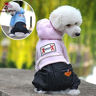 Hond Hoodies Jumpsuits Hondenkleding Jeans Donkerblauw Roze Lichtblauw Fleece Katoen Kostuum Voor huisdieren Heren Dames Cowboy Modieus