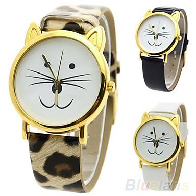 Mulheres Relógio de Moda Relógio Casual Quartzo PU Banda Desenhos Animados Leopardo Preta Branco Vermelho Marrom Branco Preto Marron