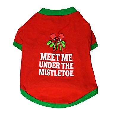 Kat Hond T-shirt Hondenkleding Kleurenblok Rood Katoen Kostuum Voor Zomer Heren Dames Casual / Dagelijks Kerstmis