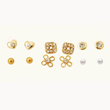 Γυναικεία Λουλούδι Καρδιά Κρύσταλλο Κουμπωτά Σκουλαρίκια - Καρδιά Χρυσαφί Σκουλαρίκια Για Πάρτι Καθημερινά Causal