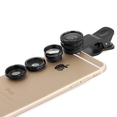 apexel 4 σε 1 2x τηλεφακού, fisheye και μακρο φακό& 0.65x ευρυγώνιο φακό με κλιπ για το iPhone 4/5 / 6δ / 6δ συν (διάφορα χρώματα)