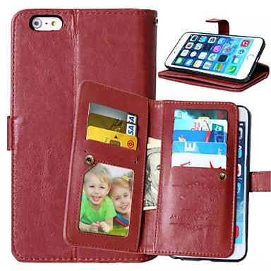Voor iPhone 6 Plus hoesje Portemonnee / Kaarthouder / met venster / Flip hoesje Volledige behuizing hoesje Effen kleur Hard PU-leer voor