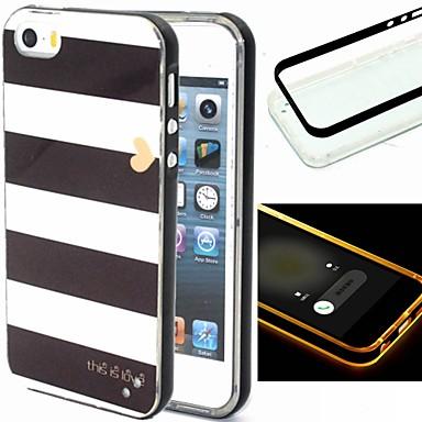 Capinha Para Capinha iPhone 5 Luz de LED Estampada Capa Traseira Linhas / Ondas Macia TPU para iPhone SE/5s iPhone 5