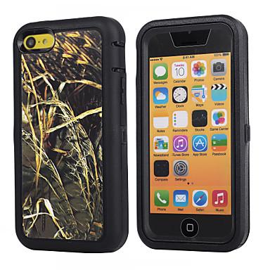 tak camouflage schokbestendig geval w / ingebouwde screen protector voor iPhone 5c plastic + TPU cover met