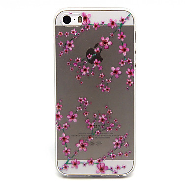 Para Capinha iPhone 5 Case Tampa Transparente Estampada Capa Traseira Capinha Flor Macia PUT para iPhone 7 Plus iPhone 7 iPhone SE/5s