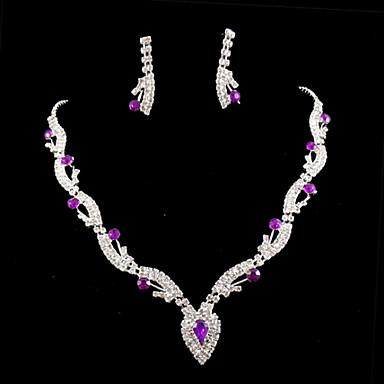 Dames Sieraden Set Edelsteen & Kristal Kubieke Zirkonia Verzilverd Gesimuleerde diamant Legering Schattig Feest Liefde Oorbellen Kettingen