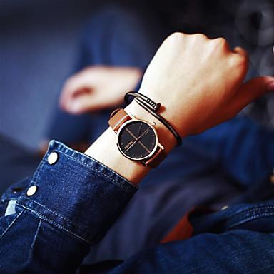 Heren Dames Voor Stel Modieus horloge Kwarts Leer Band Zwart Bruin