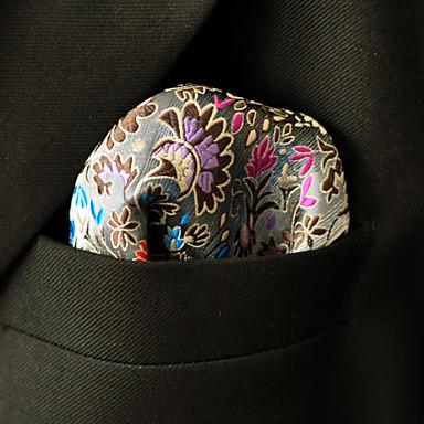 trabalho do partido dos homens rayon gravata bolso quadrados - floral cor bloco jacquard, básico