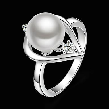 Dames Statementringen Modieus Kostuum juwelen Parel Kubieke Zirkonia Verzilverd Gesimuleerde diamant Sieraden Voor Feest